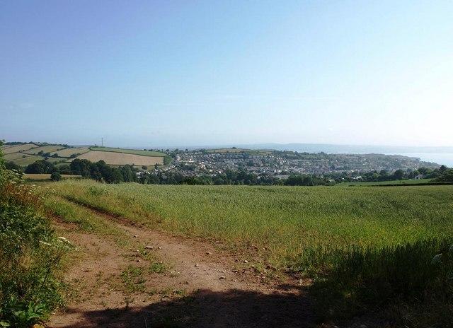 Fields below Holcombe Down Road, looking towards Dawlish