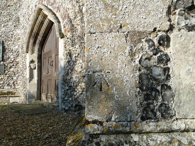 Bench Mark at Helhoughton church, Norfolk
