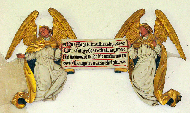 St Mary's church in Flitcham - angels holding scrolls