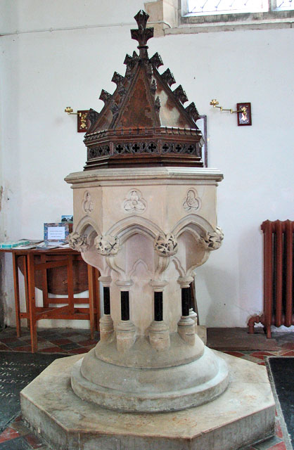 St Mary's church in Flitcham - Victorian baptismal font