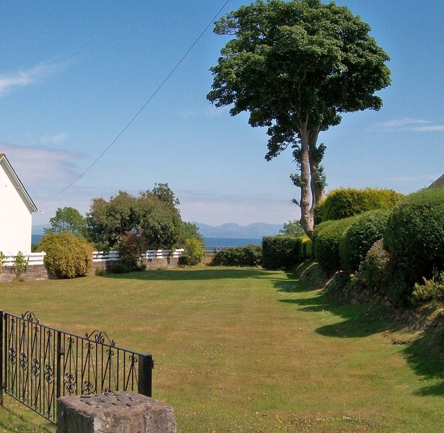 Garden in Ffordd y Glyn with a view across the sea to the hills of Meirionnydd