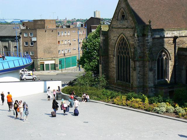 View past St Martin's Church, Birmingham