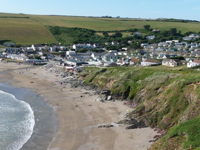 Challaborough's beach and caravans