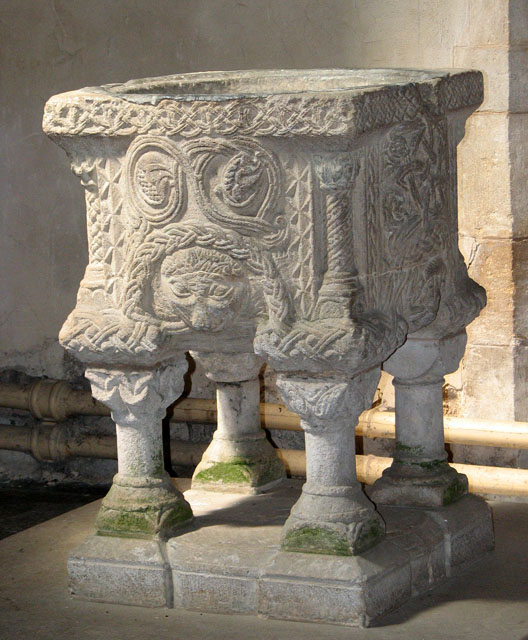 The church of SS Peter and Paul in Shernborne - Norman font