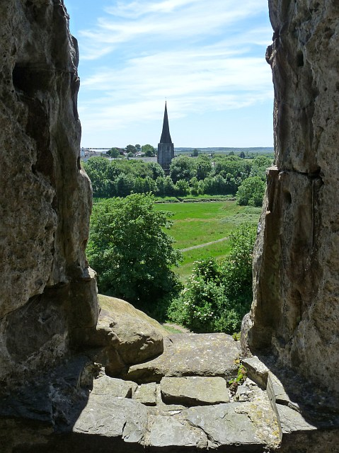 Through a castle window, Kidwelly Castle