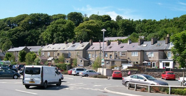 The rear of houses in Pentre Poeth from Asda's car park