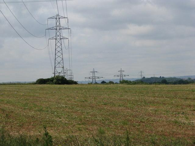 Pylons cross the fields near Winterbourne