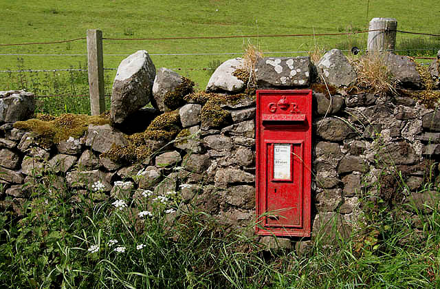 A postbox at Primsidemill