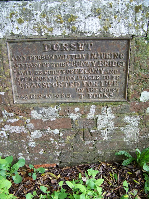 Bench Mark and sign, Witchampton