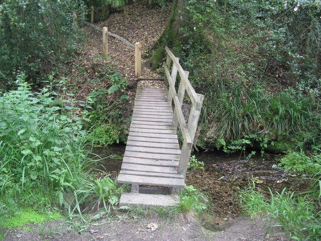 Footbridge at start of climb from stream