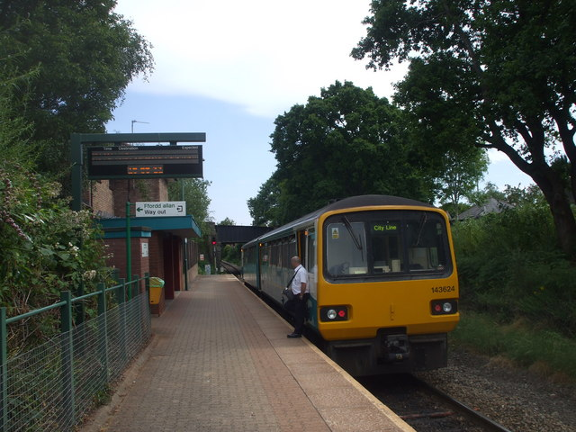 Radyr-bound train waiting at the red light at Heath Low Level Station, Cardiff