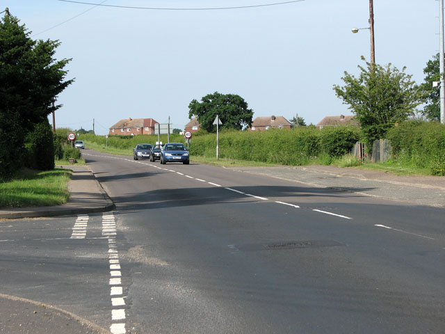 The A148 road through East Rudham