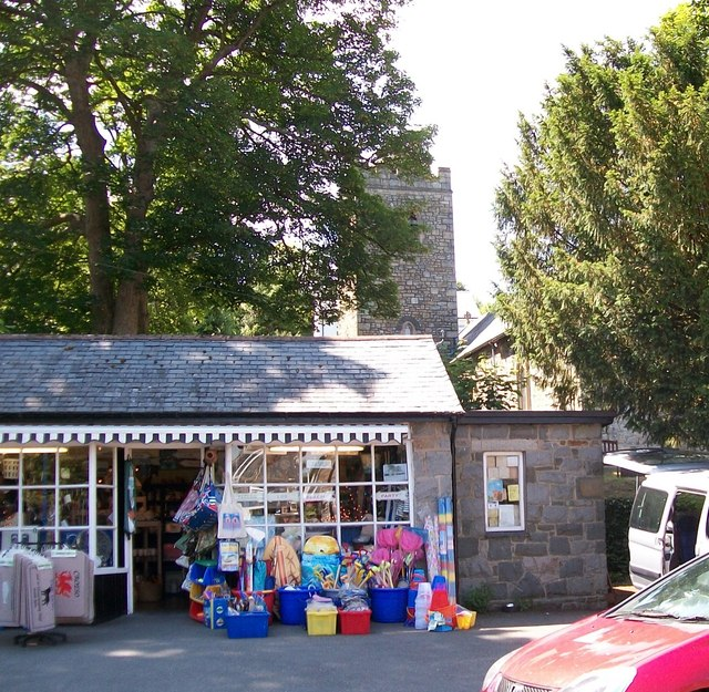 Gift shop between St Pedrog's Church and the entrance to Plas Glyn-y-Weddw