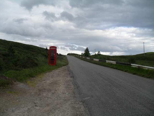 Oykell Bridge telephone box and the road east
