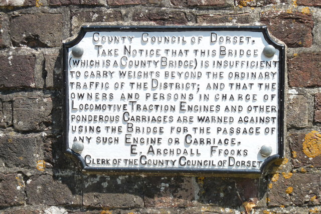 Sign on Bockhampton Bridge, Dorset