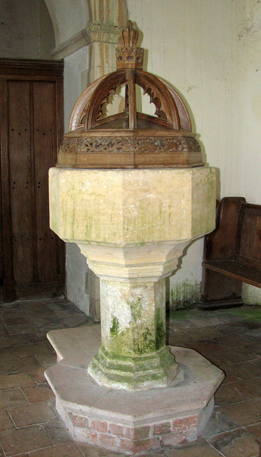 All Saints' church in Tattersett - C15 baptismal font