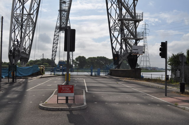 Looking across at a closed transporter bridge