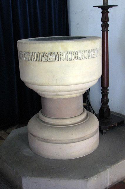 St Margaret's church in Tatterford - C19 baptismal font