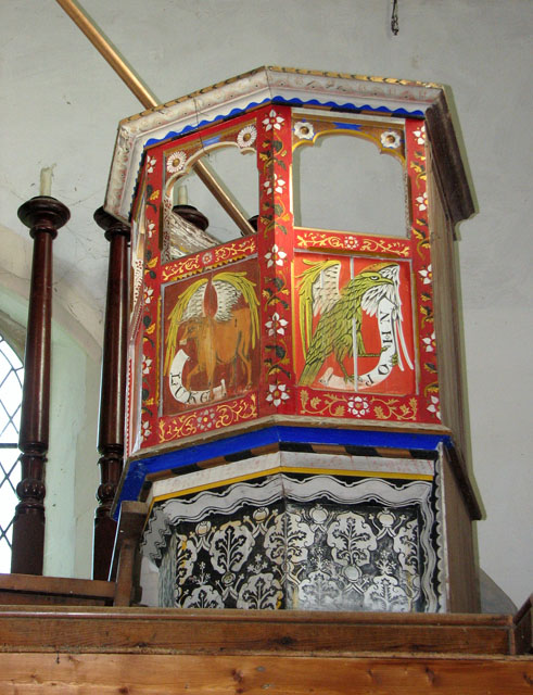 St Margaret's church in Tatterford - unused old pulpit