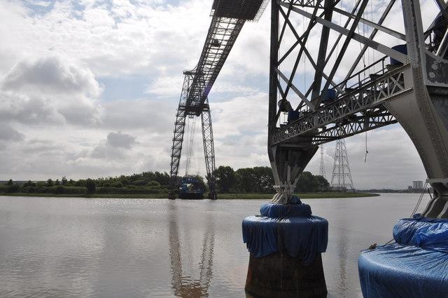 Looking across the Newport Transporter bridge