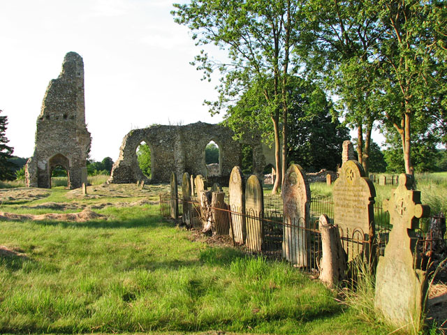 The ruins of St Margaret's church in West Raynham