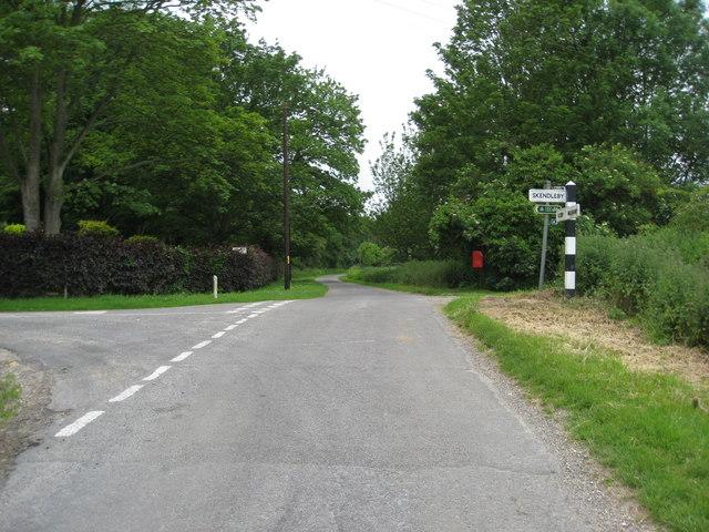Road junction near Psalter farm