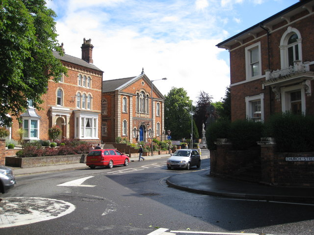 Louth - Mini roundabout at the end of Church Street