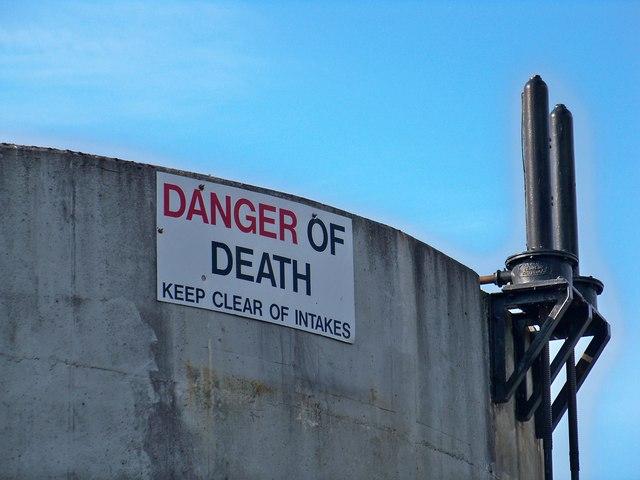 Loch Doon Dam Intakes Warning Sign