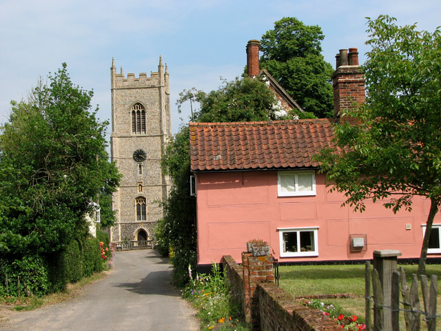 St Mary's church viewed from Church Lane, Ufford
