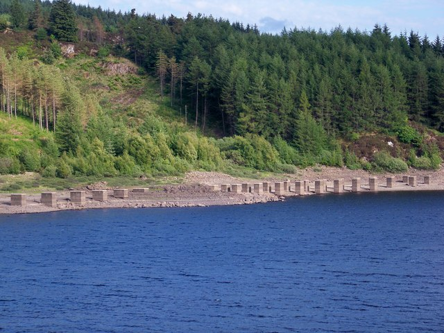 Concrete Blocks At North End Of Loch Doon