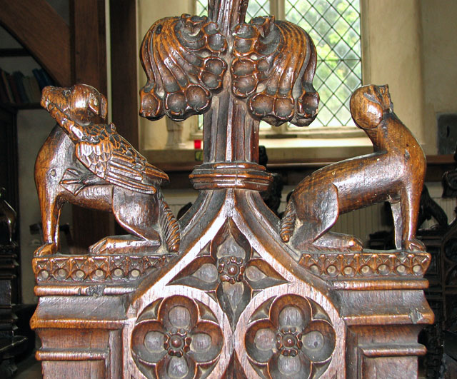 St Mary's church in Ufford - C15 bench (detail)