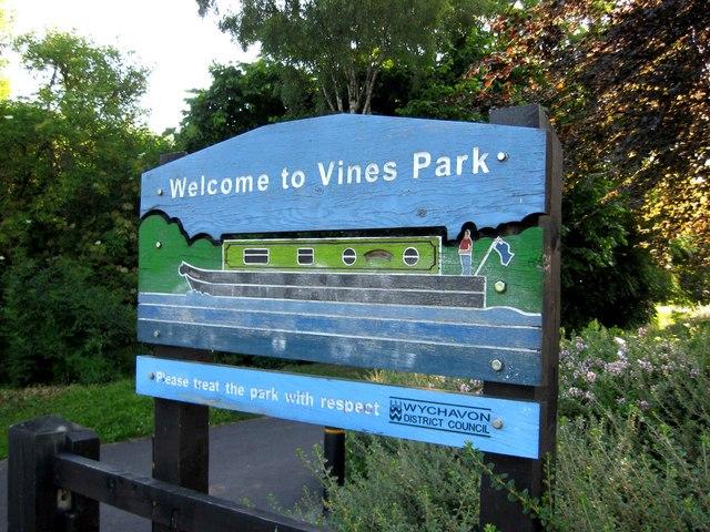 Vines Park sign at entrance in Kidderminster Road