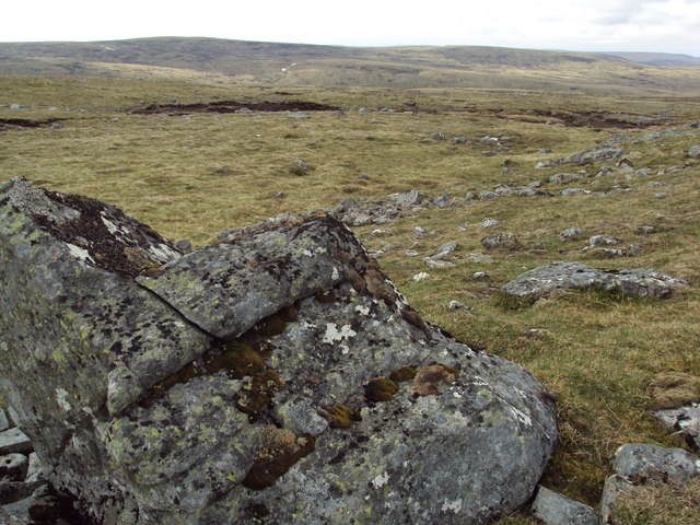 Open moorland featuring foreground boulder