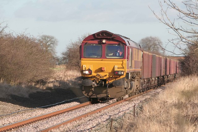 Coal from Immingham approaches the crossing at  Blyton