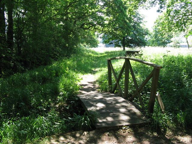 Curved bridge leading to Graffham recreation field