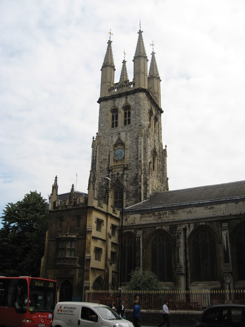 The tower of St. Sepulchre-without-Newgate, City of London