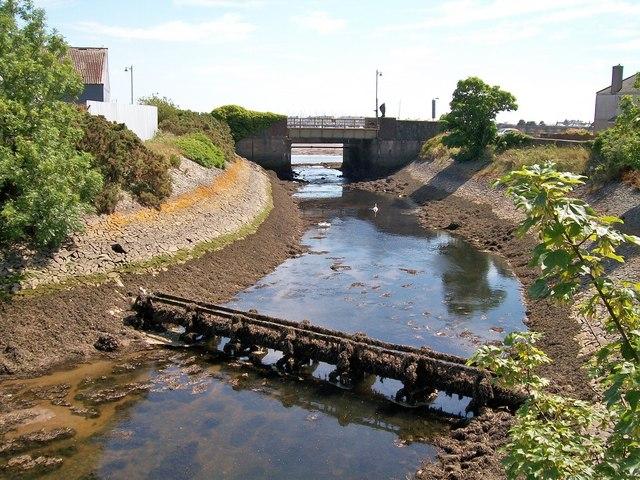 The Afon Erch below the new flood gates