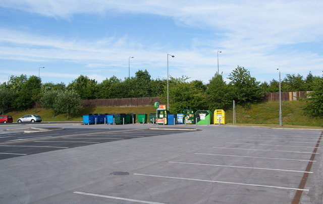 Recycling facilities in the corner of the Asda car park