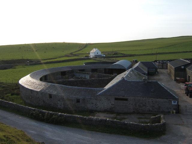 The semi-circular barn at Kilchiaran