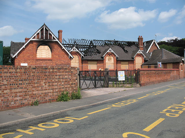 St Peter's church hall, burnt out