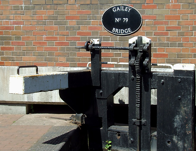 Lock gate paddle mechanism at Gailey Lock, Staffordshire