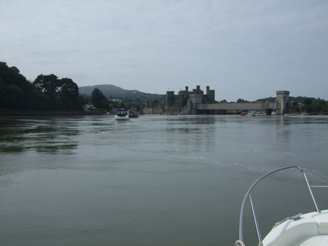 Approach to Conwy Castle and bridges