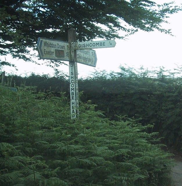 Signpost at Dishcombe Head Cross