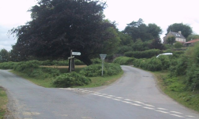 Road junction by Clannaborough Farm