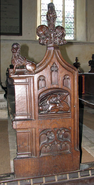 St Mary's church in Dennington - C15 carved bench end