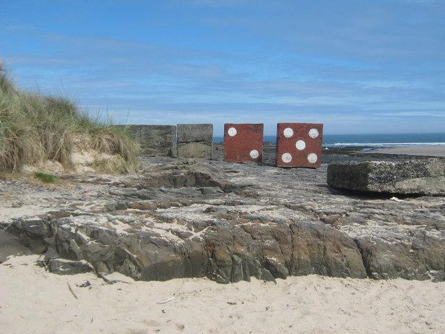 WW2 tank traps on Harkess Rocks Bamburgh