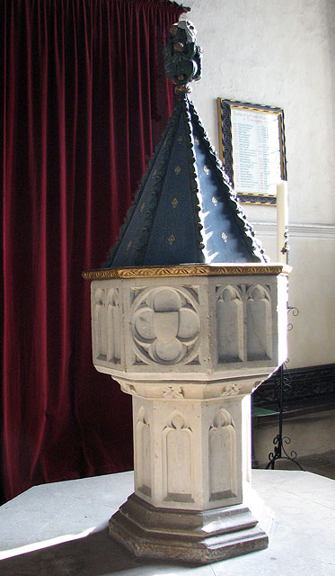 St Mary's church in Dennington - C14 baptismal font