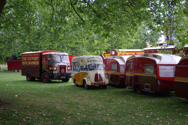 Funfair vehicles, Priory Park, London N8