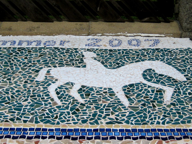 Detail of artwork mosaic - Greenhill Gardens