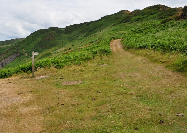 A path to Morthoe which leaves the Coast Path near Morte Point